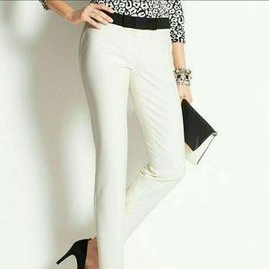 Ann Taylor White Pants w/ Black Grosgrain Bow